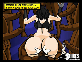 submissive woman surrounded black